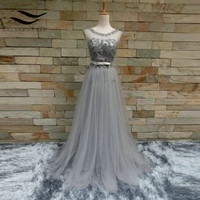 Gray Flower Beading Pearls Bow Sashes Scoop A Line Tulle Custom Made Long Evening Dresses 2018