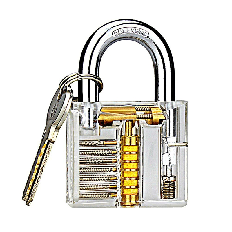 Transparent Visible Pick Cutaway Practice Padlock Lock With Broken Key Removing Hooks Lock Extractor Set Locksmith Tool 30mm transparent visible pick cutaway practice padlock lock with broken key remove hook extractor set locksmith wrench tool