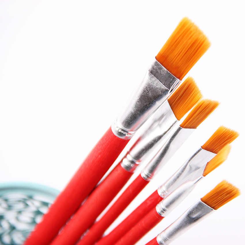 6 stks/set Kids Student Aquarel Gouache Pen Nylon Haar Rode Houten Handvat Kwast Set Tekening Art Supplies