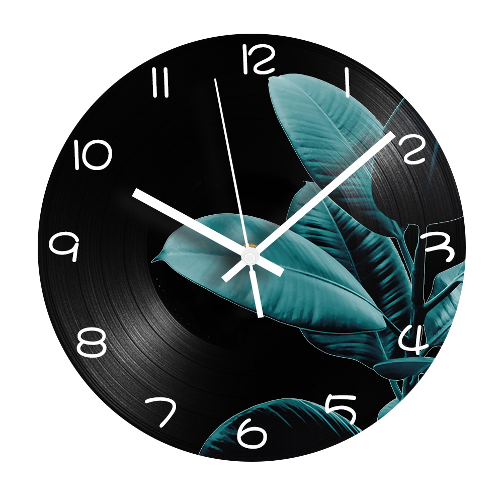 Leaves Digital Wall Clock Modern Design Silent Mechanism Decorative Vinyl CD Record Clock Plant Vintage Wall Watch