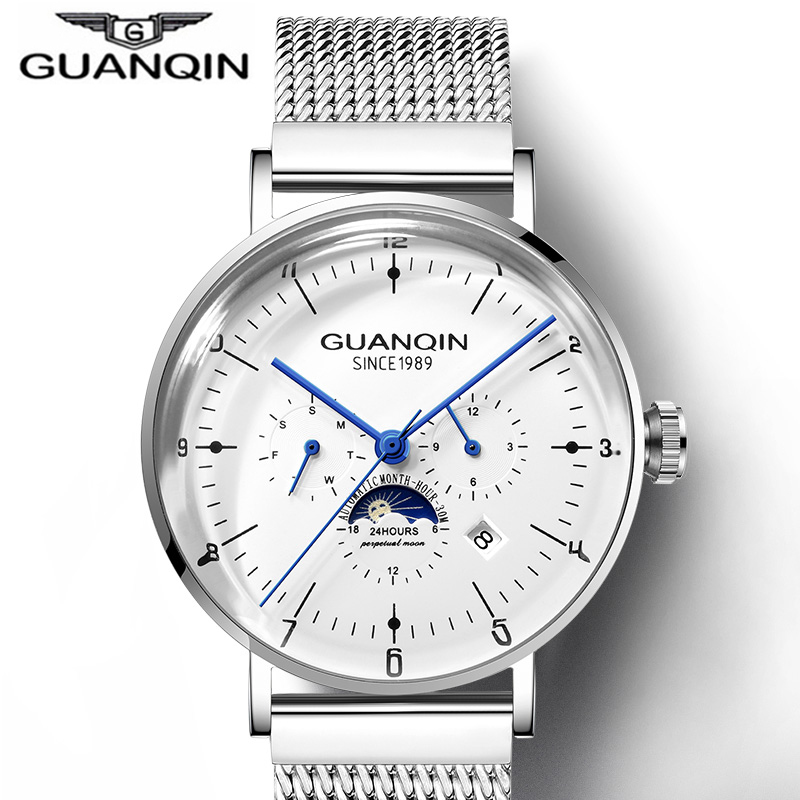 Automatic Self-Wind Mechanical Watch Silver Fashion Stainless Steel Mesh Strap Men  Moon Phase Watches Luxury Male WristwatchAutomatic Self-Wind Mechanical Watch Silver Fashion Stainless Steel Mesh Strap Men  Moon Phase Watches Luxury Male Wristwatch