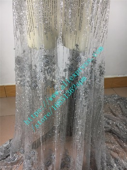 French fashion wedding dress fabric glitter with sequins high quality African embroidered lace with beads for  party dress