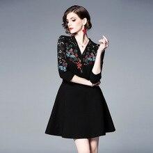 PADEGAO New Fashion Womens Wear Temperament V-neck Seven-sleeve Lacquer Stitching Embroidery Slim Dress Retro Self-cultivation