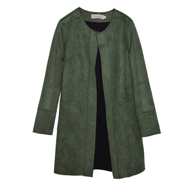 Бесплатная доставка голубой, Армия зеленый корейский Новый стиль весна / осень замши плащ оленьей длинный рукав пальто