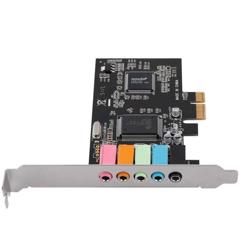 Tarjeta de sonido PCIe 5,1, tarjeta de Audio 3D envolvente PCI Express para PC con alto rendimiento de sonido directo y soporte de bajo perfil