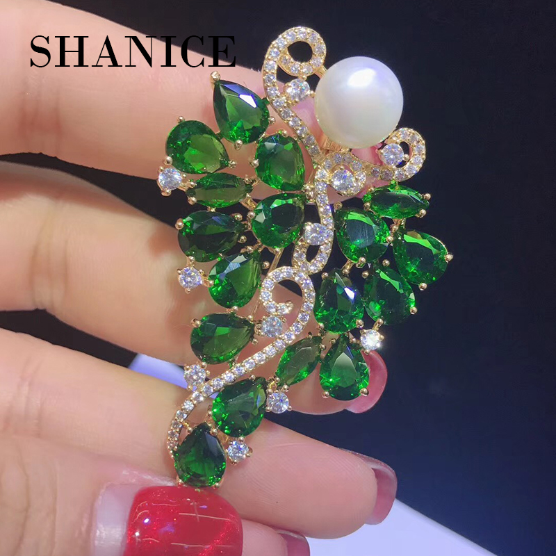 SHANICE Charming CZ Cubic Zircon Green Crystal Grape Vine Brooch Pins Simulated Pearl Bridal Wedding Brooches For Women Jewelry charming crystal gold rose brooch