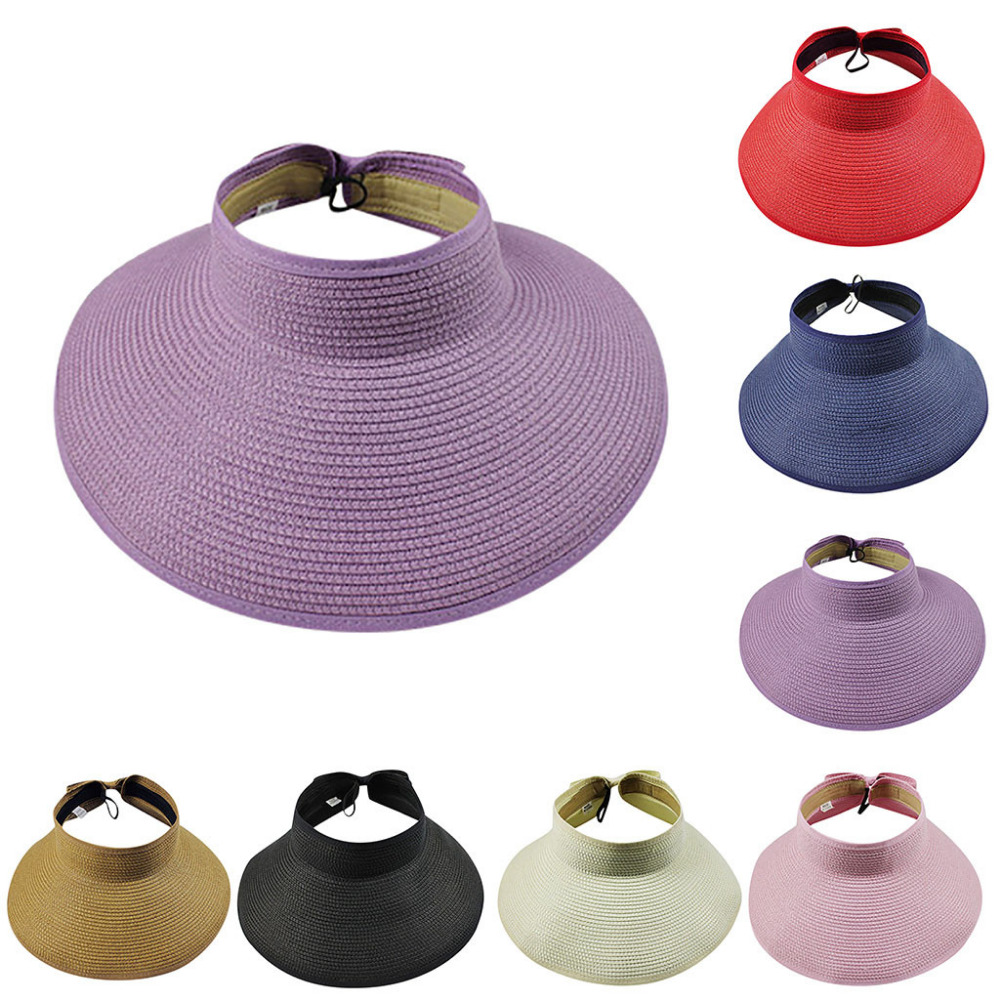 Sun Hats For Women Summer Foldable Wide Large Brim Sun Hat Straw Hot Sale Round Top Sun Visor Leisure Beach Refreshing Cap 038