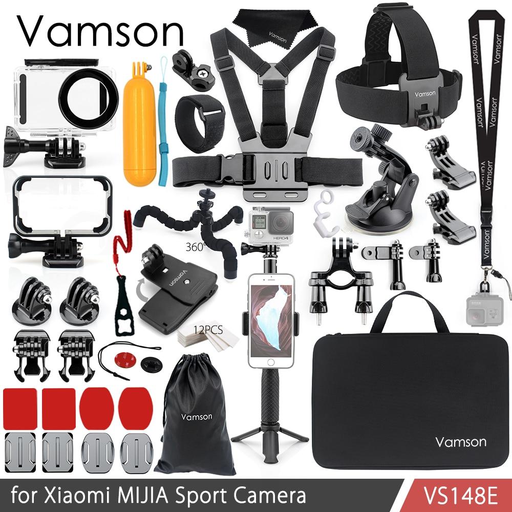 Vamson para Xiaomi MIJIA Kit de accesorios carcasa impermeable Cas marco caja de montaje de trípode Monopod para MIJIA Cámara del deporte Cámara de VS148