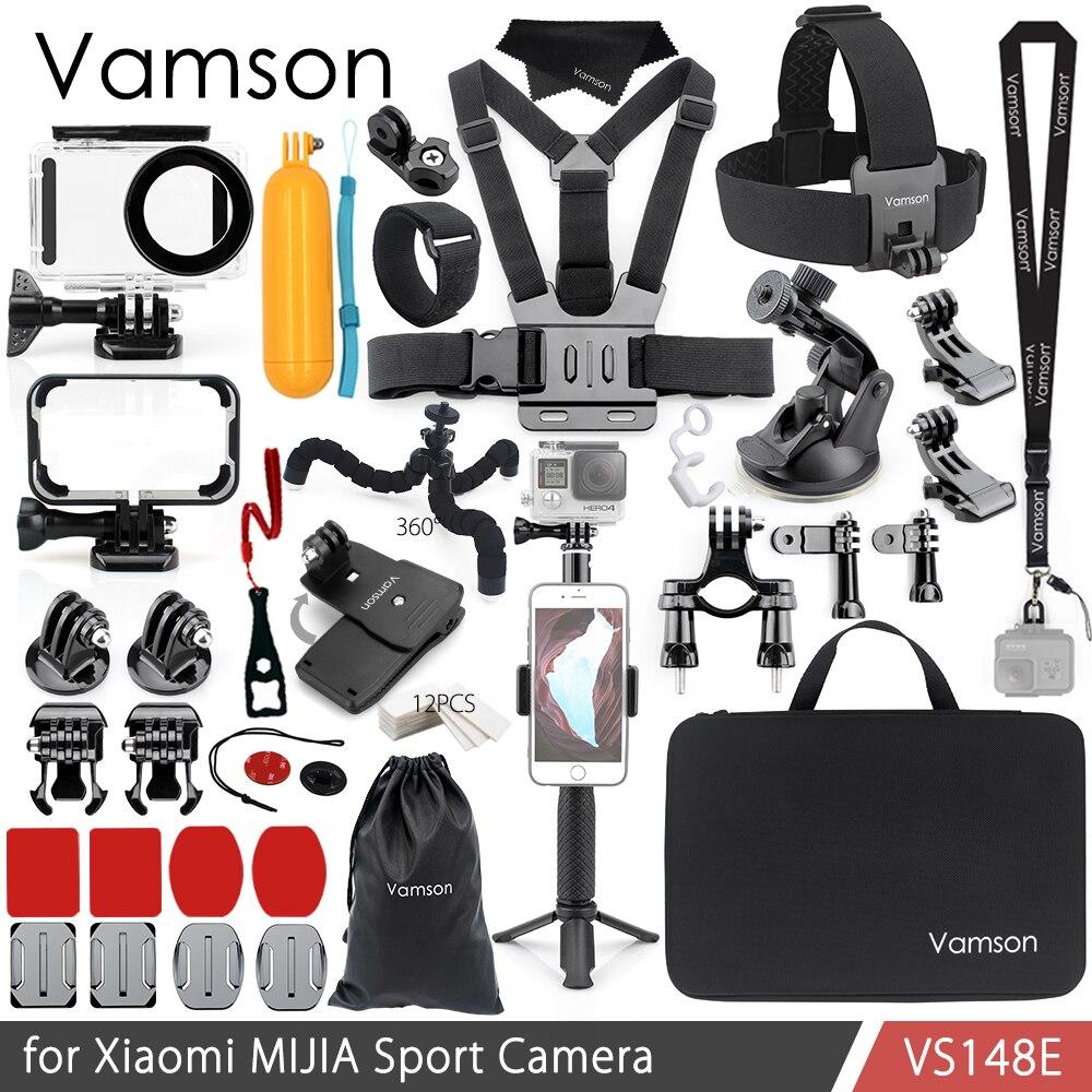 Vamson für Xiaomi MIJIA Zubehör Kit Wasserdichte Gehäuse Cas Rahmen Box Stativ Montieren Einbeinstativ für MIJIA Sport Kamera VS148