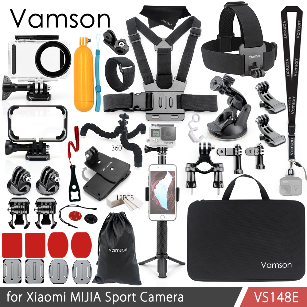 Vamson for Xiaomi MIJIA Accessories Kit Waterproof Housing Cas Frame Box Tripod Mount Monopod for MIJIA Sport Camera VS148 nereus 10 meter waterproof housing kit for digital camera dc wp20