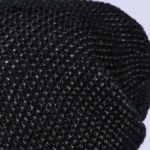 Image 5 - Зимние вязаные шапки CHING YUN 2018, теплые шапки для женщин, кашемировая вязаная шапка, Женская шерстяная пушистая подкладка, Посеребренная пряжа