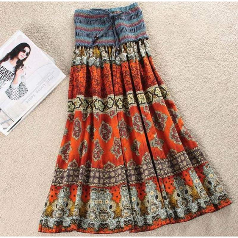 HTB1Ag WSIbpK1RjSZFyq6x qFXaN - Boho Floral A-line Women's Maxi Skirt Elastic High Waist Sashes Vintage Pleated Womens Skirts Summer Fashion Clothes Female