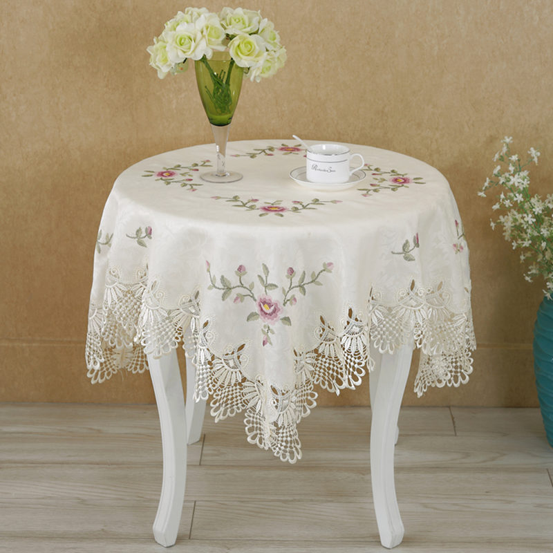 Hot European round table cloth lace flower embroidery elegant tablecloth dining table cover towels cross stitch