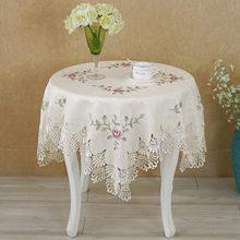 Hot Europäischen runden tisch tuch spitze blume stickerei elegante tischdecke esstisch abdeckung handtücher kreuzstich aushöhlen stil