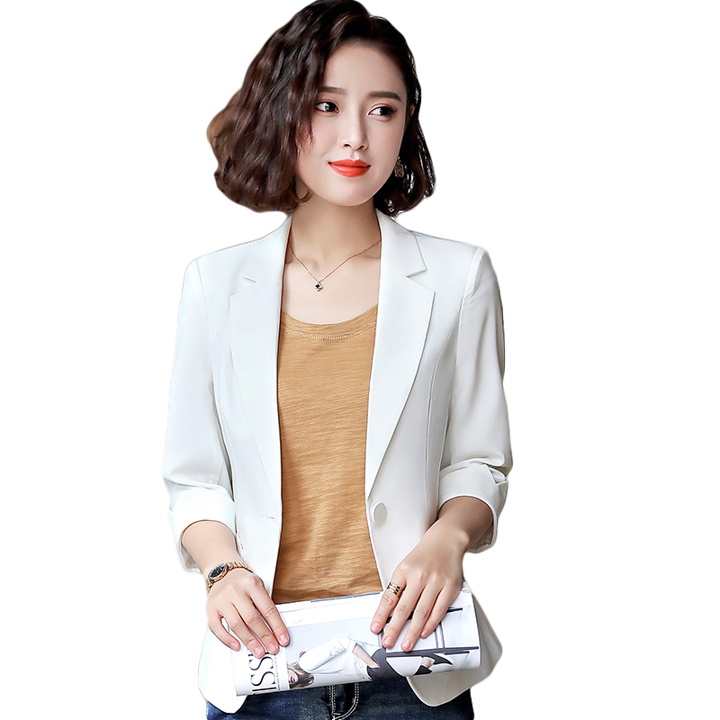 Fashion Spring Summer Women Blazer Formal Half Sleeve Jackets Elegant White Office Slim Ladies Plus Size Work Wear Coats CM1220