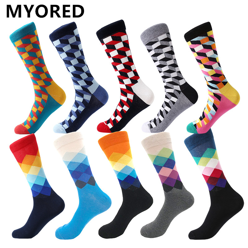 Image 2 - MYORED mens colorful casual dress socks combed cotton striped plaid geometric lattice pattern fashion design high quality-in Men's Socks from Underwear & Sleepwears