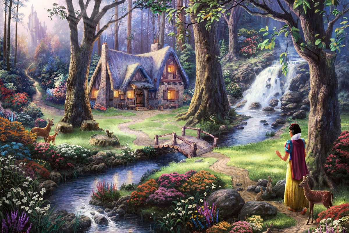 Snow White Fairy Tale Fantasy Qr74 Room Home Wall Modern Art Decor Wood Frame Poster-in Painting
