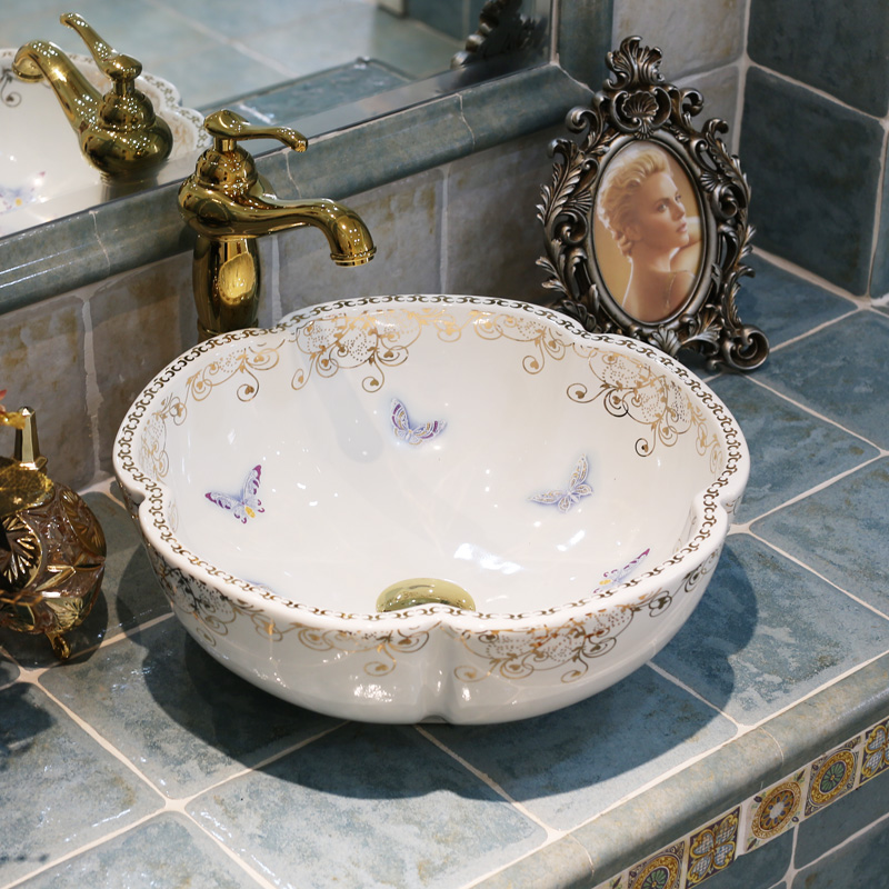 China Artistic Handmade Ceramic Wash Basin Lavobo Flower Shape Counter Top Bathroom  Sink Washing Basin Deep Basin Sink