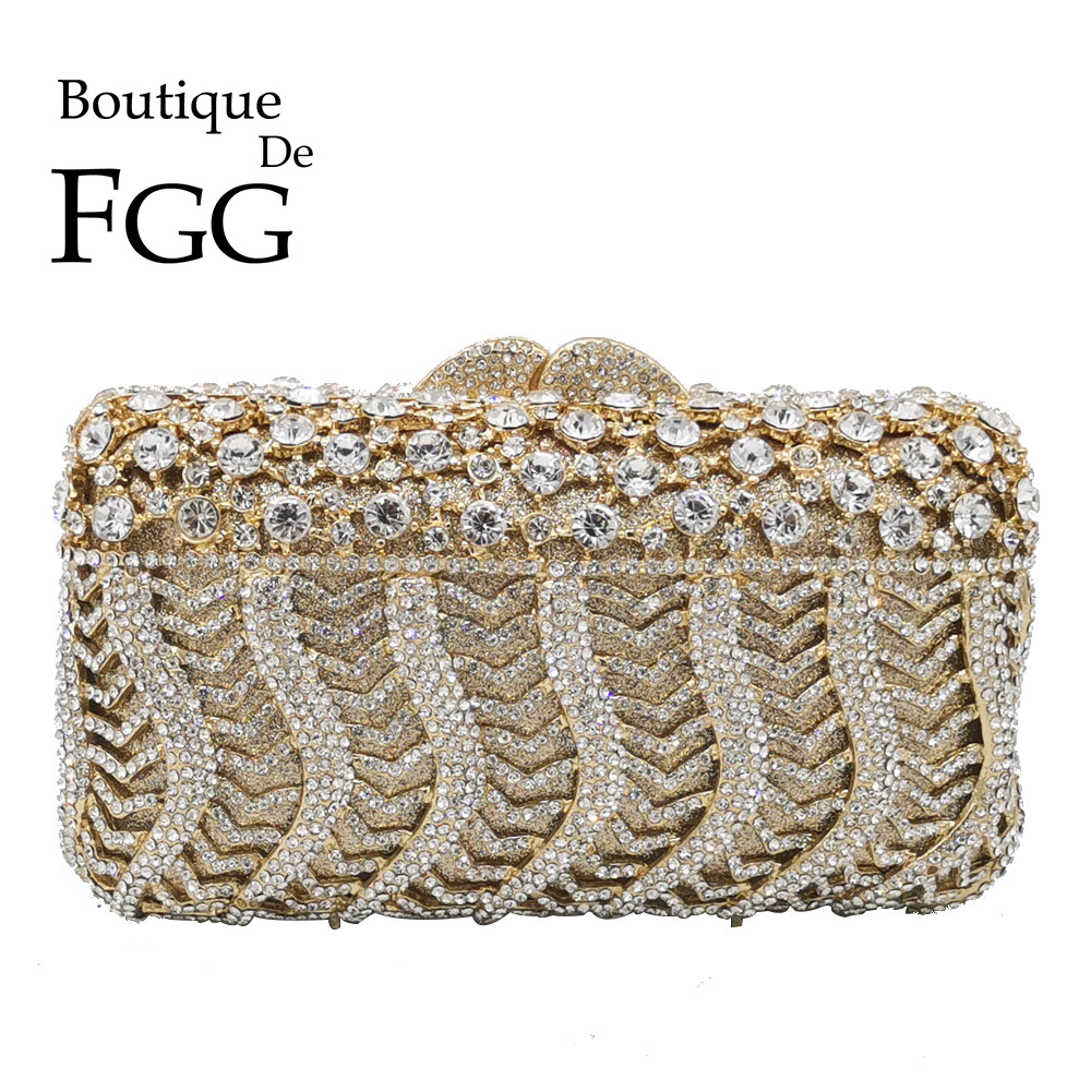 Boutique De FGG Dazzling Women Crystal Evening Minaudiere Bags Diamond Wedding Purses Bridal Box Clutch Bag