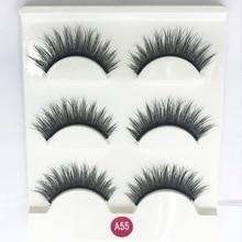 3D false eyelashes natural long thick eye lash lashes faux cils maquillaje profesional fake eyelash silk 1 set = 3 pairs