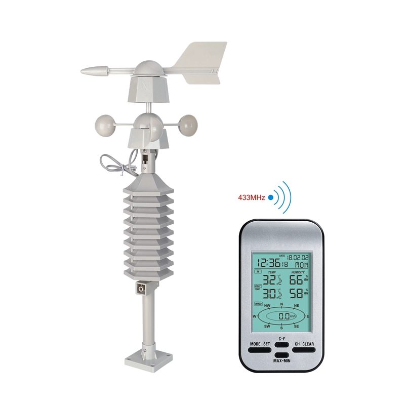 Wireless Anemometer Weather Station Clock LCD Wind Speed Direction Wind Chill Temperature Humidity Meter Dual Mount Wind Sensor