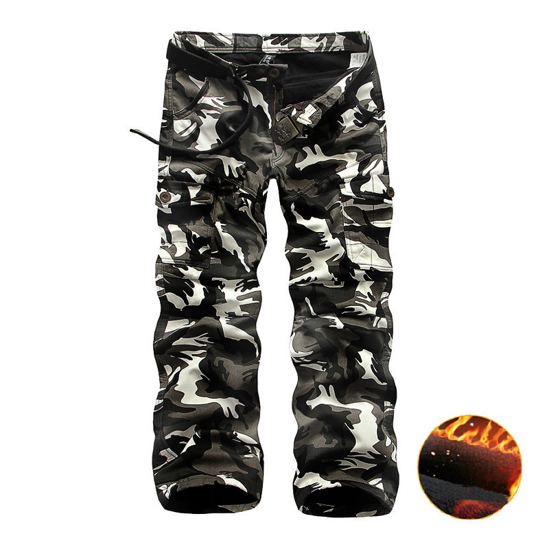 Winter Thicken Fleece Army Cargo Tactical Pants Overalls Men's Military Cotton Casual Camouflage Trousers Warm Pants 7