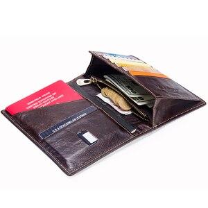 Image 4 - CONTACTS Casual portafoglio per passaporto maschile in vera pelle porta carte di credito per uomo porta passaporto per uomo con tasche per monete da viaggio
