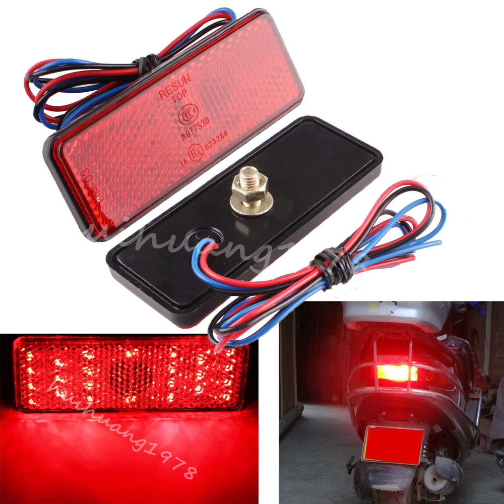 New 2x Universal LED Reflector Red Rear Tail Brake Stop Marker Light For JEEP SUV Truck Trailer