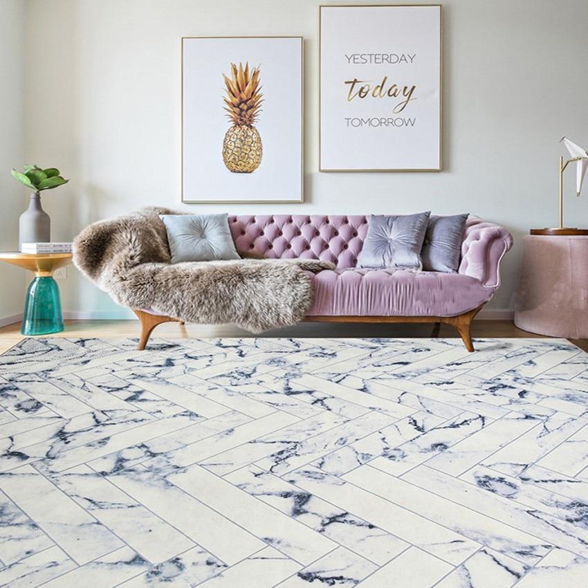 Tapis rayé marbré de style Simple, tapis de salon populaire INS, tapis de sol rectangle, tapis de décoration pastorale pour la maison - 2