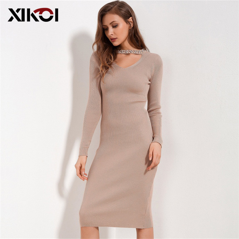 XIKOI Women Elegant Party Dresses Knitting Beading Halter Neck Sexy Knitted Dress Ladies Long Sleeve Bodycon Slim Summer Dresses women sexy slim summer dress knitted bandage ruffles strap mini knitting dresses women club dresses