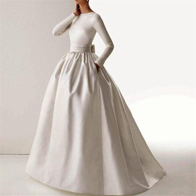 Elegante de la vendimia vestidos de novia Sencillos 395 Satinado ...