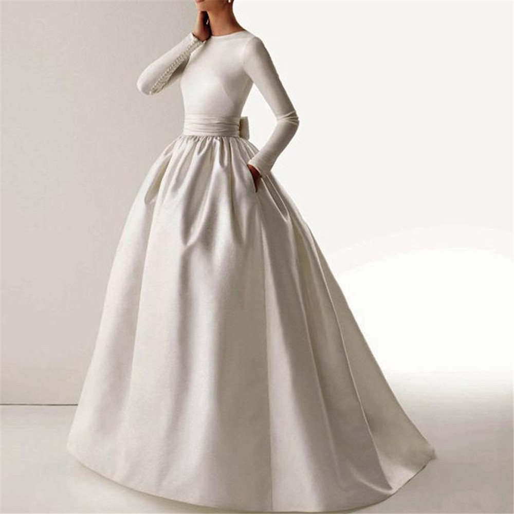 Simple Elegant Open Back Long Sleeve Wedding Dress: Vintage Elegant Vestidos De Novia Simple 395 Satin Wedding