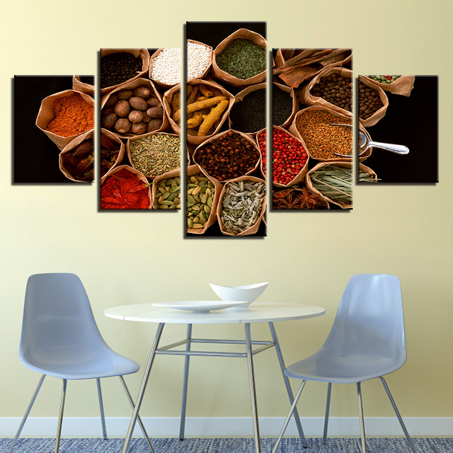 Canvas Paintings Home Decor Framework 5 Pieces Sri Lankan Spices Pictures HD Prints Grains Food Poster Modular Kitchen Wall Art