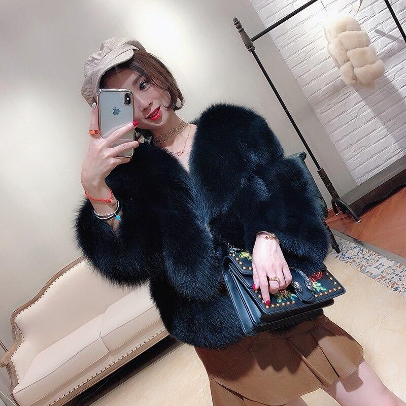 Court dark Chaud Gray Hiver Manteau De Longues Réel Manches Veste 2018 Femme Zl705 Beige Vintage black Vêtements Coréenne Femmes Fourrure À shQrdCt