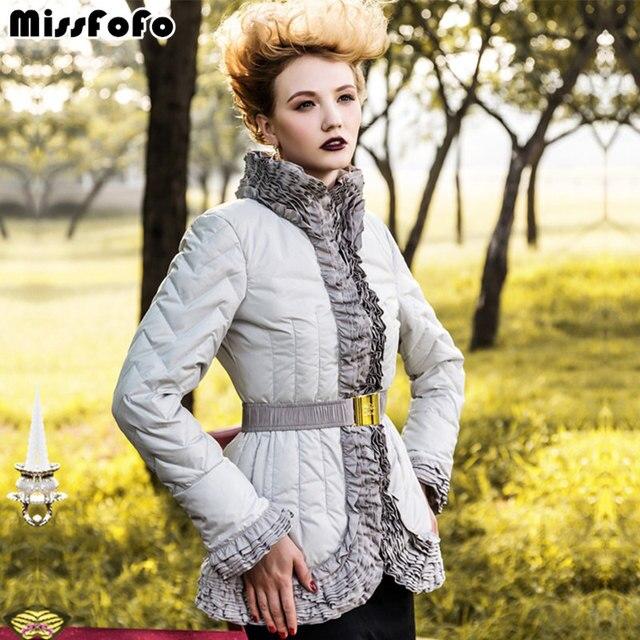 MissFoFo женские подпушка куртка пальто royalcat 2015 Винтаж Элегантный рюшами Пальто Высокое качество женский