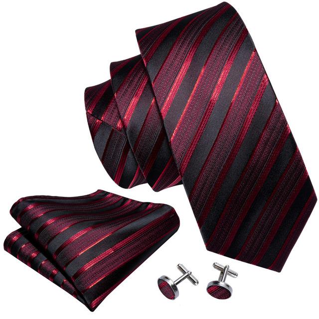 Set de Corbata a Rayas de Seda con Pañuelo y Gemelos