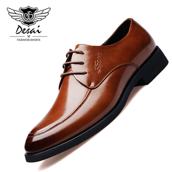 DESAI Brand Spring Shoes Men Leather Shoes Business Suit Men Shoes Youth Fashion Leisure Pointed Toe Wedding Shoes