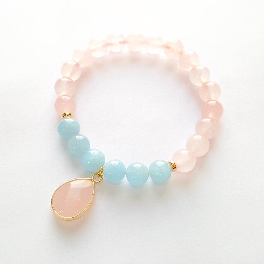 LiiJi Unique Natural Rose quar tz Aquamarines 925 Sterling Silver Gold Color Elegant Bracelet Nice Gift For Women