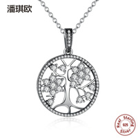 2017 Luxury 925 Sterling Silver Tree Of Life Round Pendant Necklaces Charm Necklace For Women Compatible
