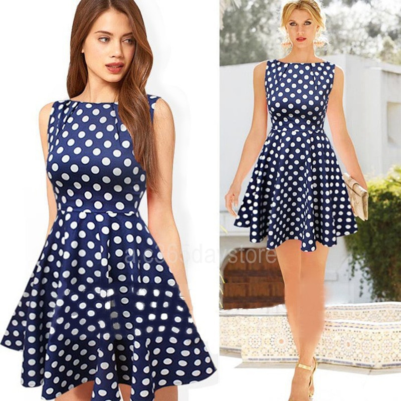 Popular Navy Blue Polka Dot Dress-Buy Cheap Navy Blue Polka Dot ...