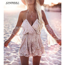 Sexy Bodysuit Women Jumpsuit Sexy Sequin Backless Rompers Womens Short Jumpsuit Overalls Fashion Lace Playsuit for women 2017(China)