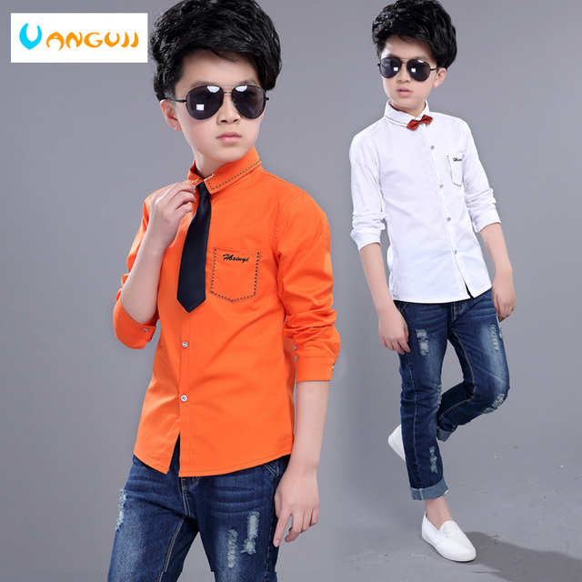 e343423a boys shirts hot sale boys white shirt 5-15 years old solid full sleeve  fashion wild Handsome gentleman Embroidery tie random
