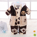 2015 Children's clothing spring and autumn outerwear male set infant flannel set male cotton-padded piece set