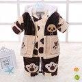 Ropa 2015 de Los Niños de primavera y otoño prendas de vestir exteriores conjunto de franela masculina de algodón acolchado conjunto masculino infantil piezas conjunto