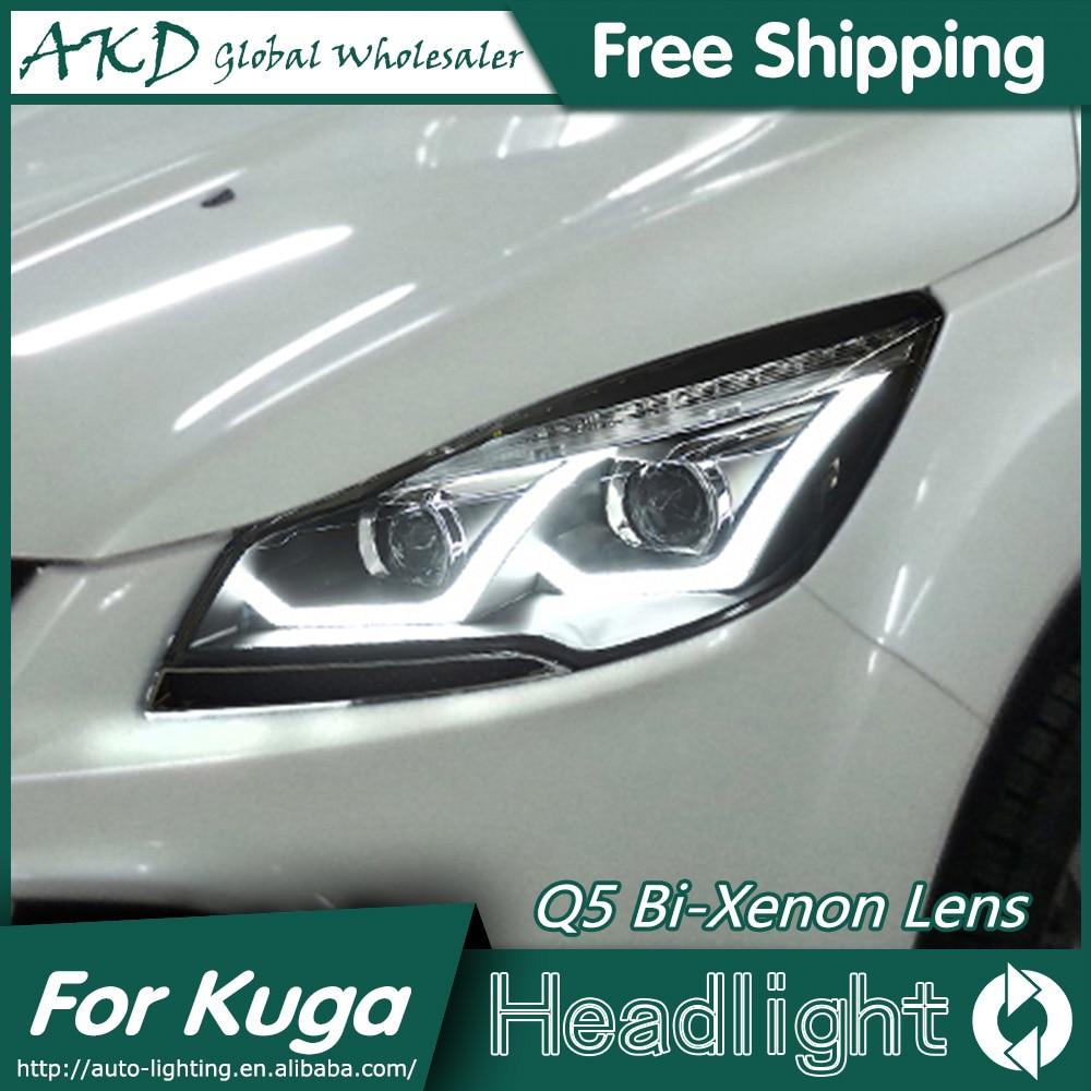 Akd car styling for ford kuga escape led headlights 2014 angel eye headlight drl bi xenon