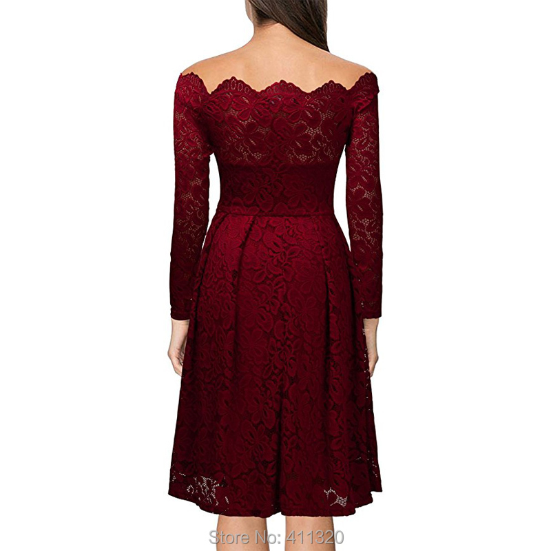 Robe Femme Sexy Vintage Floral Lace Dress Women Elegant Long Sleeve 50s 60s Retro Style Rockabilly Swing Wedding Party Dress (2)