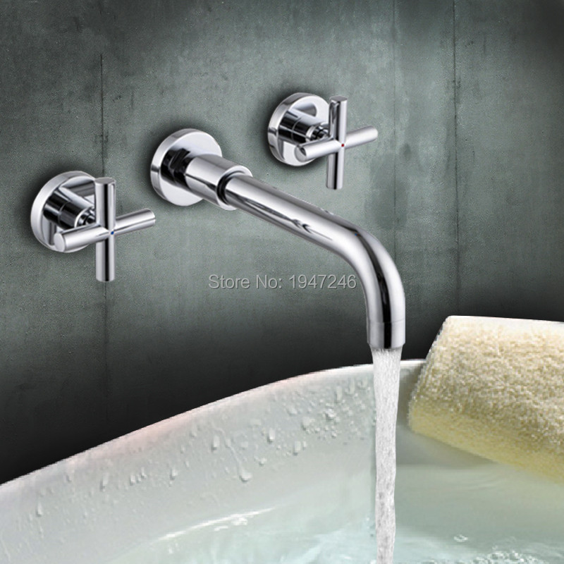 Modern Chrome Brass Finished Wall Mounted Bathroom 3 Hole Basin Mixer Faucet Dual Handles free shipping high quality chrome finished brass in wall bathroom basin faucet brief sink faucet bf019