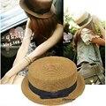 Unisex Classic inglaterra estilo de la trenza de paja de la cinta del Bowknot sol sombrero plano del navegante Fedora panamá sombreros de ala