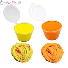 60ml DIY Snow Slime Slim Mud Kids Fluffy Floam Soft Scented Stress Relief Sludge Toy Orange Yellow
