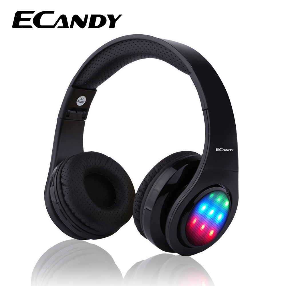 ECandy Bluetooth Headphone Wireless Stereo Hifi Sound Music Noise Cancellation Headset Foldable Earphones for Iphone 6 LED Light edifier w688bt stereo bluetooth headset wireless bluetooth headset music computer noise reduction hifi headset call
